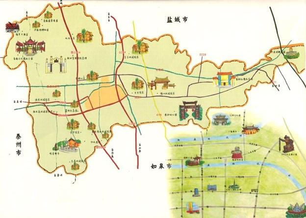 海安县手绘旅游地图