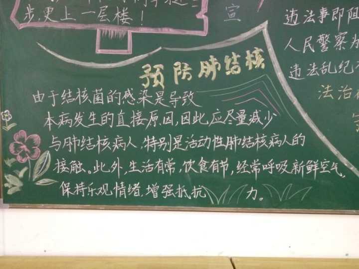 通过张贴宣传画,出刊黑板报,召开主题班会等形式对师生进行结核病防治